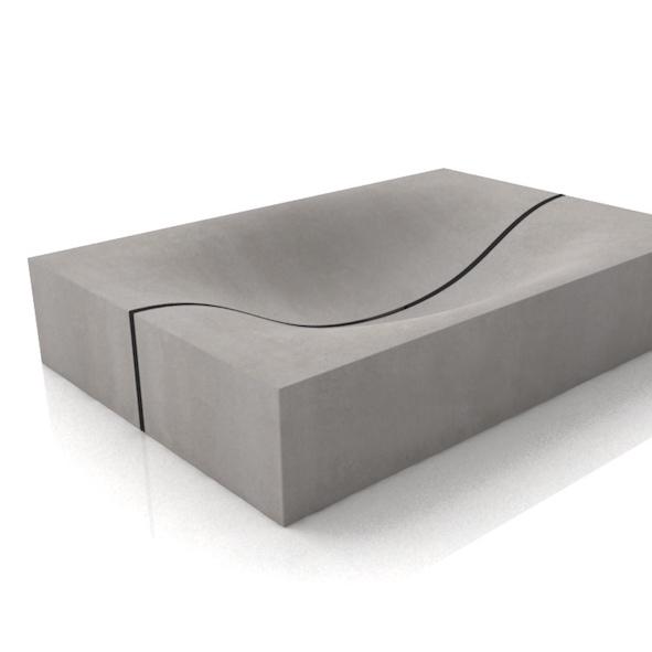 Beton waschbecken wave cubed - Wandgehangtes waschbecken beton trendiges design ...