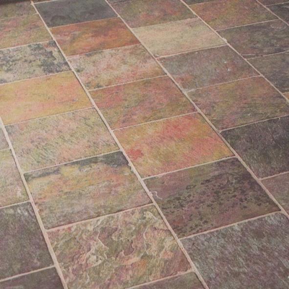 Bodenplatten In Multicolor Peacock Buntschiefer